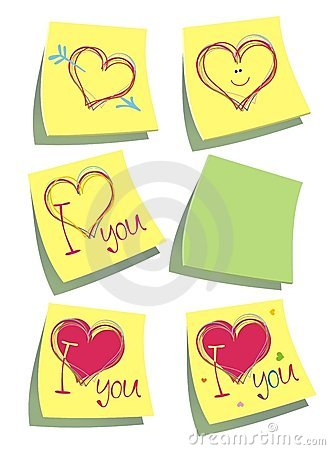 Color paper post-it notes with hearts.