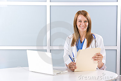 Woman doctor in a modern office