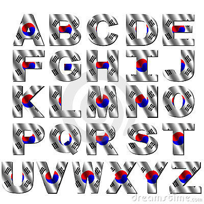 South Korea flag font