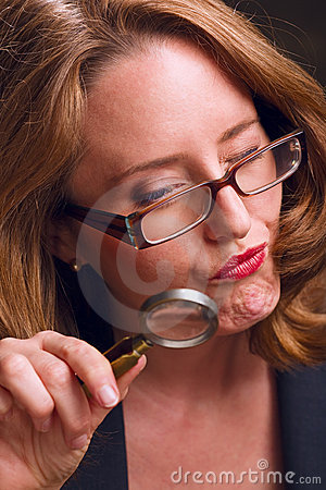 Magnifying glass woman