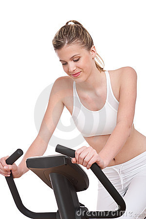 Fitness series - Sportive woman cycling