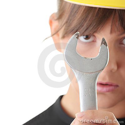 Young woman builder