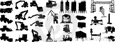 Building site silhouette 1 (+ vector)