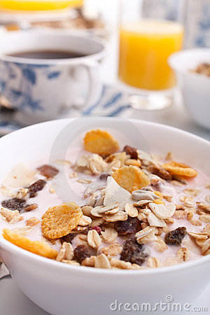 Muesli, coffee and juice