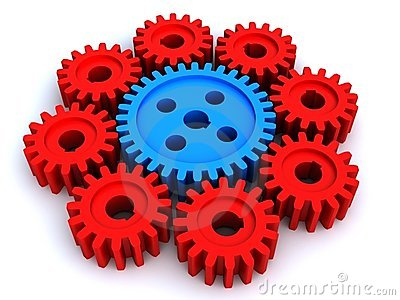 The big gear and eight small