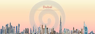 Vector illustration of Dubai city skyline at sunrise