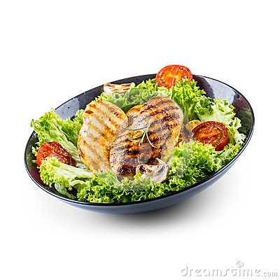 Grill Chicken Breast. Roasted and grill chicken breast with lettuce salad tomatoes and mushrooms isolated on white