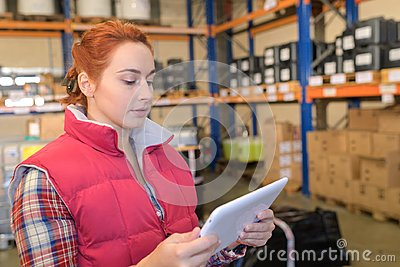 Young storage clerk reading tab