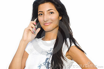 Girl and phone on white background
