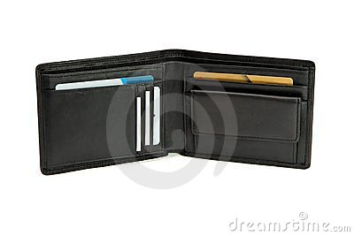 Open black wallet with business cards isolated