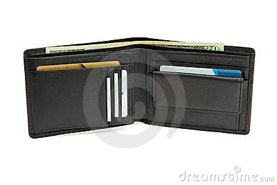 Open wallet with business cards and dollars