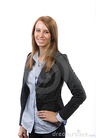 Business woman hands on hips