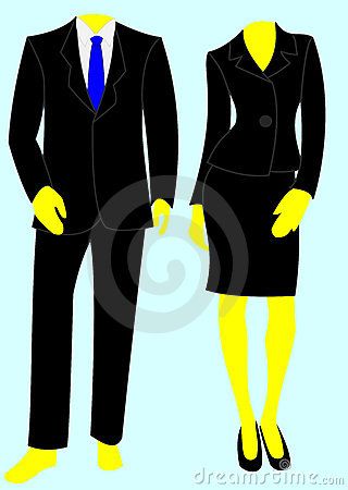 Two smart business suits, one male, one female.