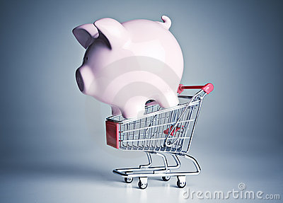 Piggy bank on a miniature shopping cart