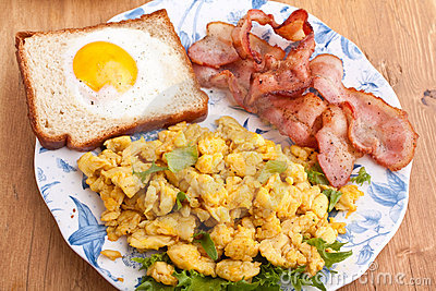 Eggy bread, eggs and bacon