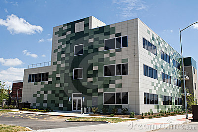 Green Checked Building