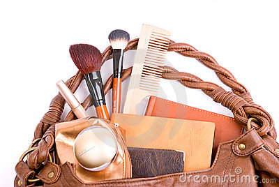 Stylish ladies' handbag with cosmetics