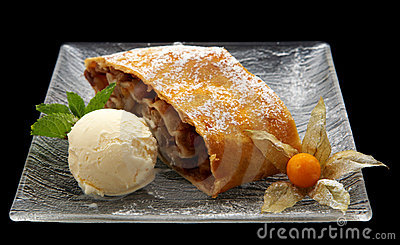 Strudel with ice cream