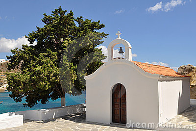 White church on Rhodes island