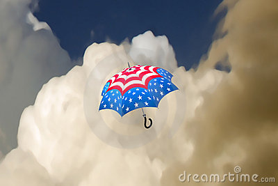 Flying stars and stripes umbrella