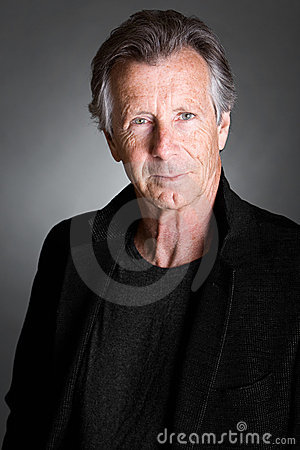 Senior Man against a Grey Background