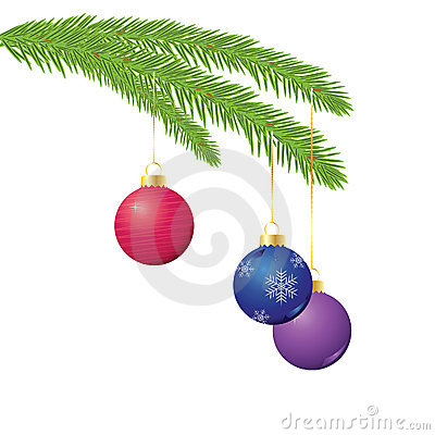 Christmas ornaments on branch