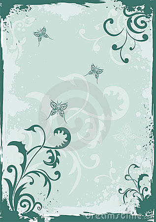 Grunge green floral background