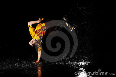 Breakdance style dancer in water