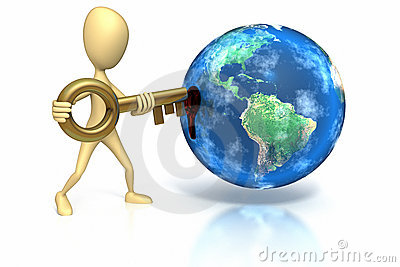 Stick figure inserting key into world