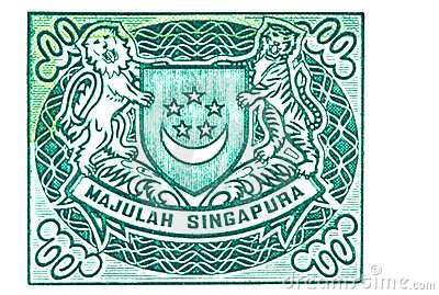 Singapore Coat of Arms on Currency Note