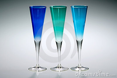 Blue and green trio of champagne glasses