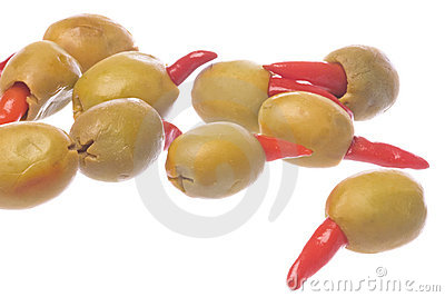 Pickled Pepper Olives Isolated