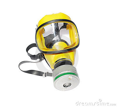 Modern silicone rubber gas mask on white