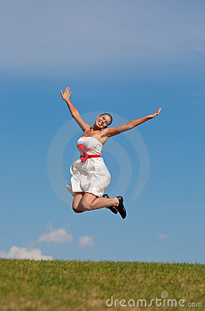 Smiling Jumping Girl
