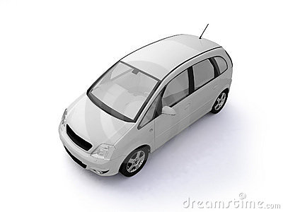 Multi-purpose white car top view