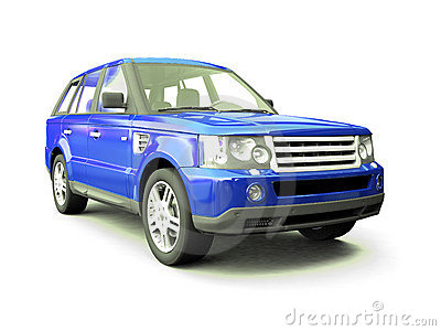 Four-wheel drive blue car