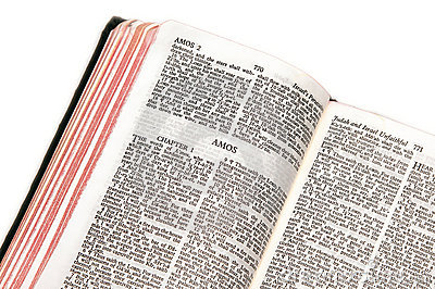 Bible open to amos