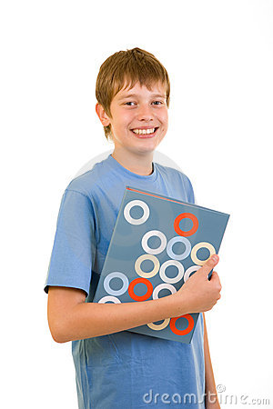 Smiling student with colorful books
