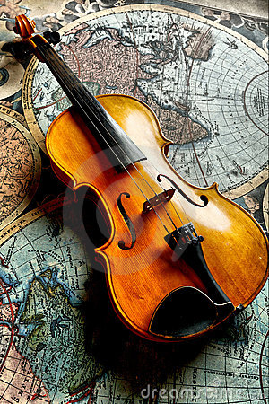 Classic violin on worldmap