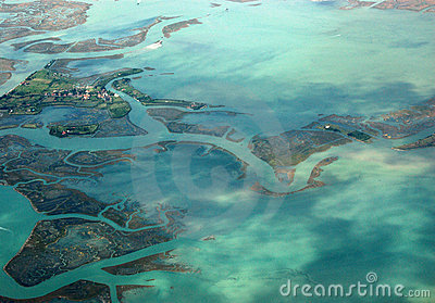 Venetian island of Torcello, viewed from the air