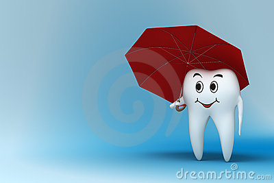 Tooth with red umbrella