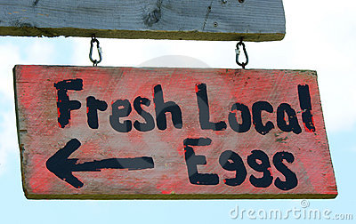 Fresh local eggs sign
