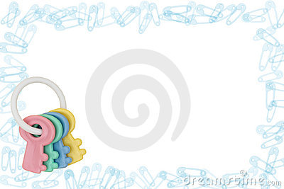 Diaper Pin Border and Rattle