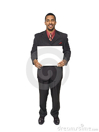Businessman - happy blank sign