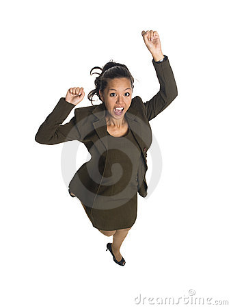 Businesswoman - jump for joy