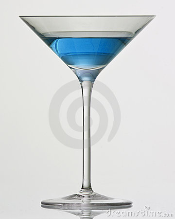 Blue drink in cocktail glass