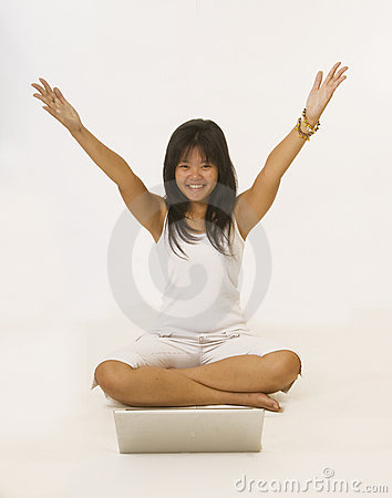 Happy young Asian girl