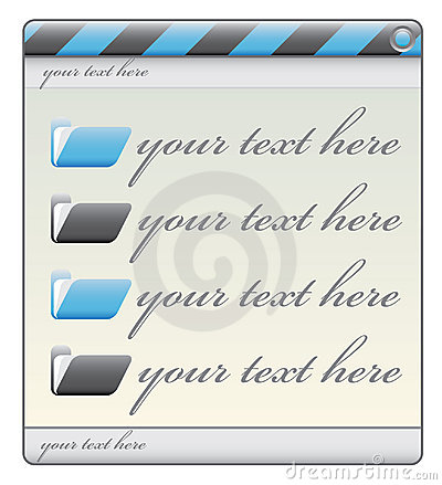 Blue construction window label with folders and te