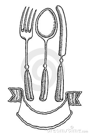 Cutlery with banner hand drawing black and white
