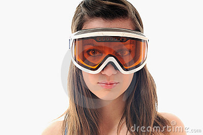 Woman ski glasses